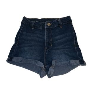 H&M Divided high waisted rolled cuff denim shorts